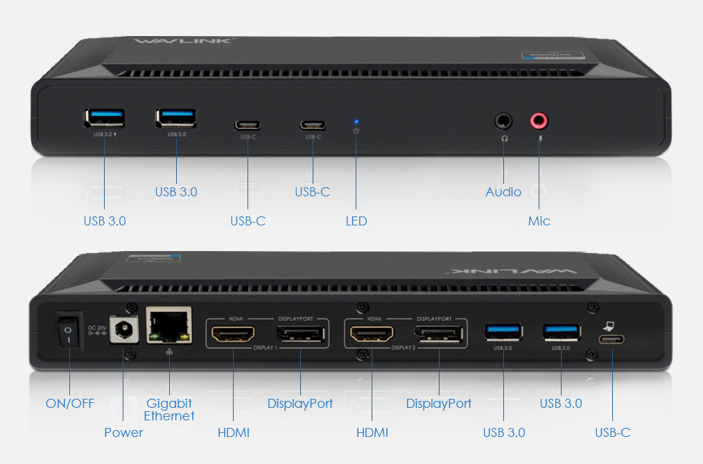 WL-UG69PD2 USB-C Dual 4K Docking Station with Power Delivery