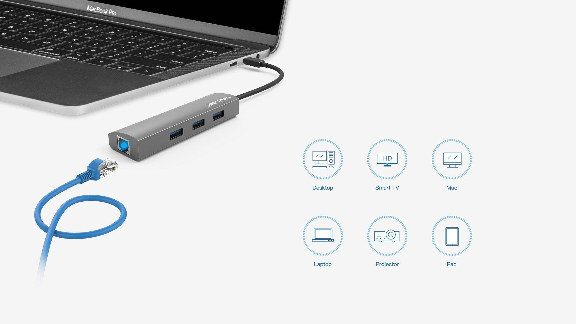 WAVLINK SUPERSPEED USB-C 4-PORT HUB WITH GIGABIT ETHERNET 3 6