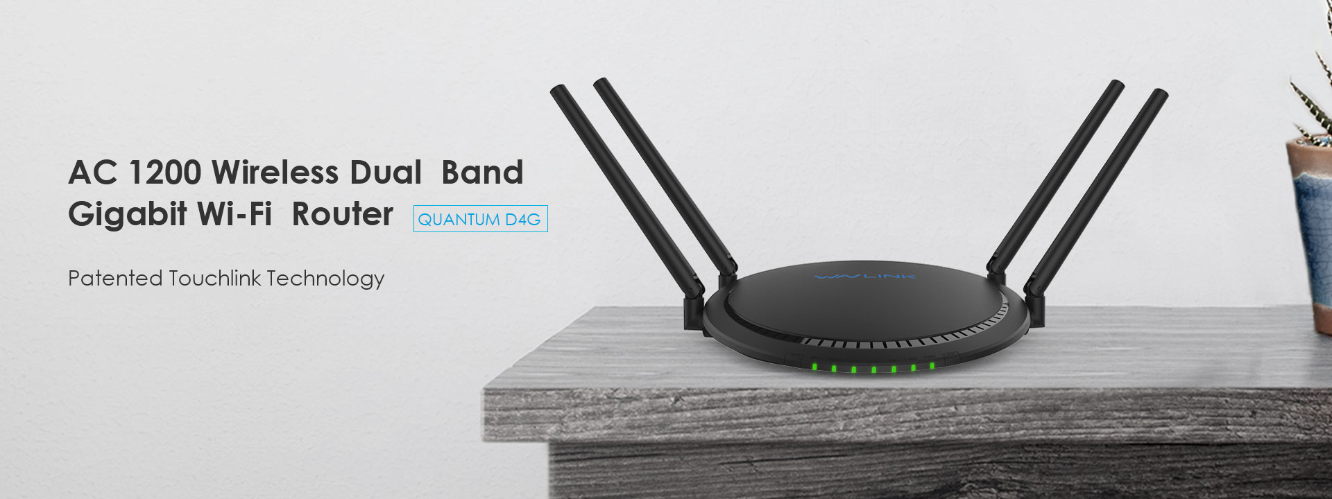 QUANTUM D4G – AC1200 Dual-band Smart Wi-Fi Router with Touchlink and Giga LAN