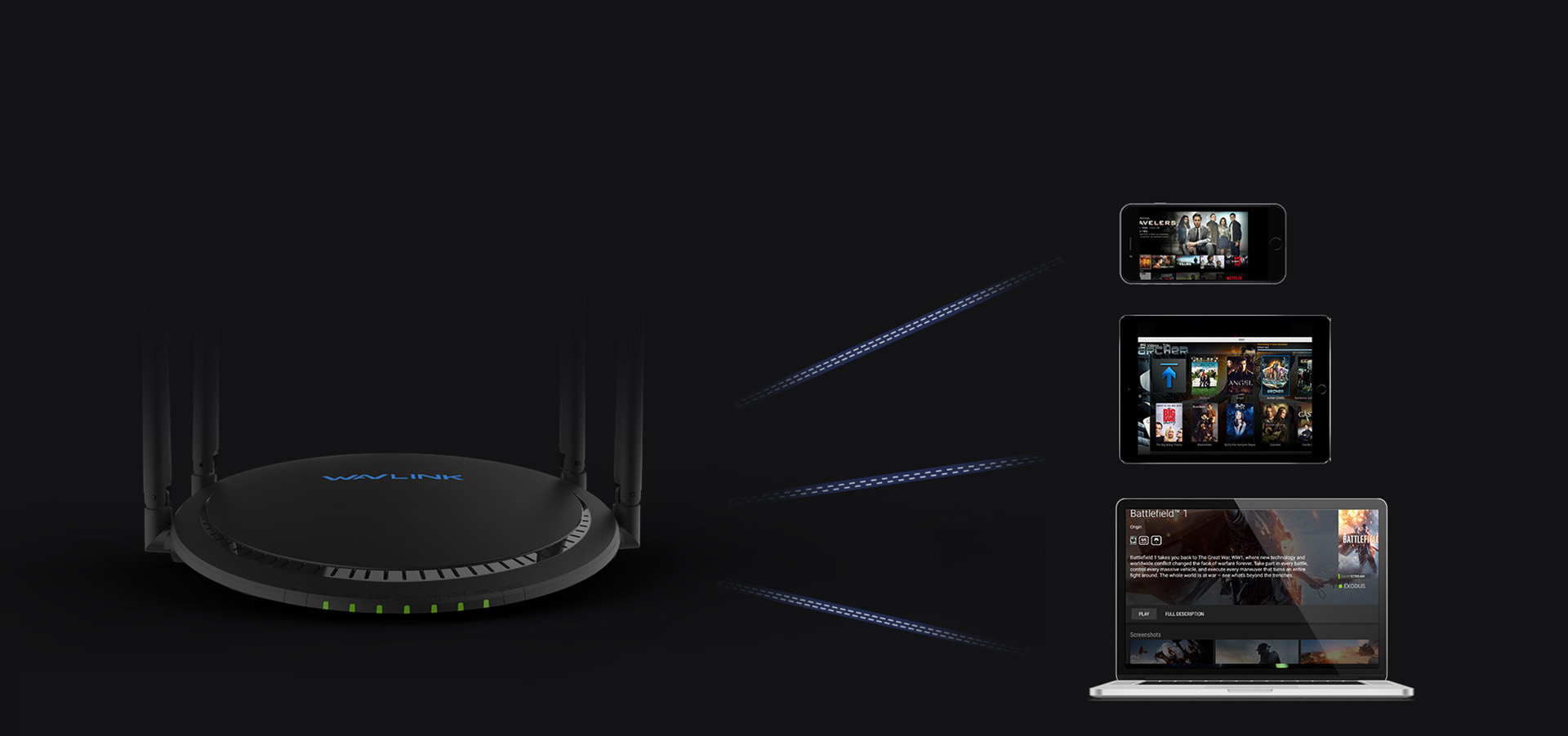 睿因A42,双频千兆智能路由器,智能为用户选择网速更好,最佳的信道,优化了上网体验