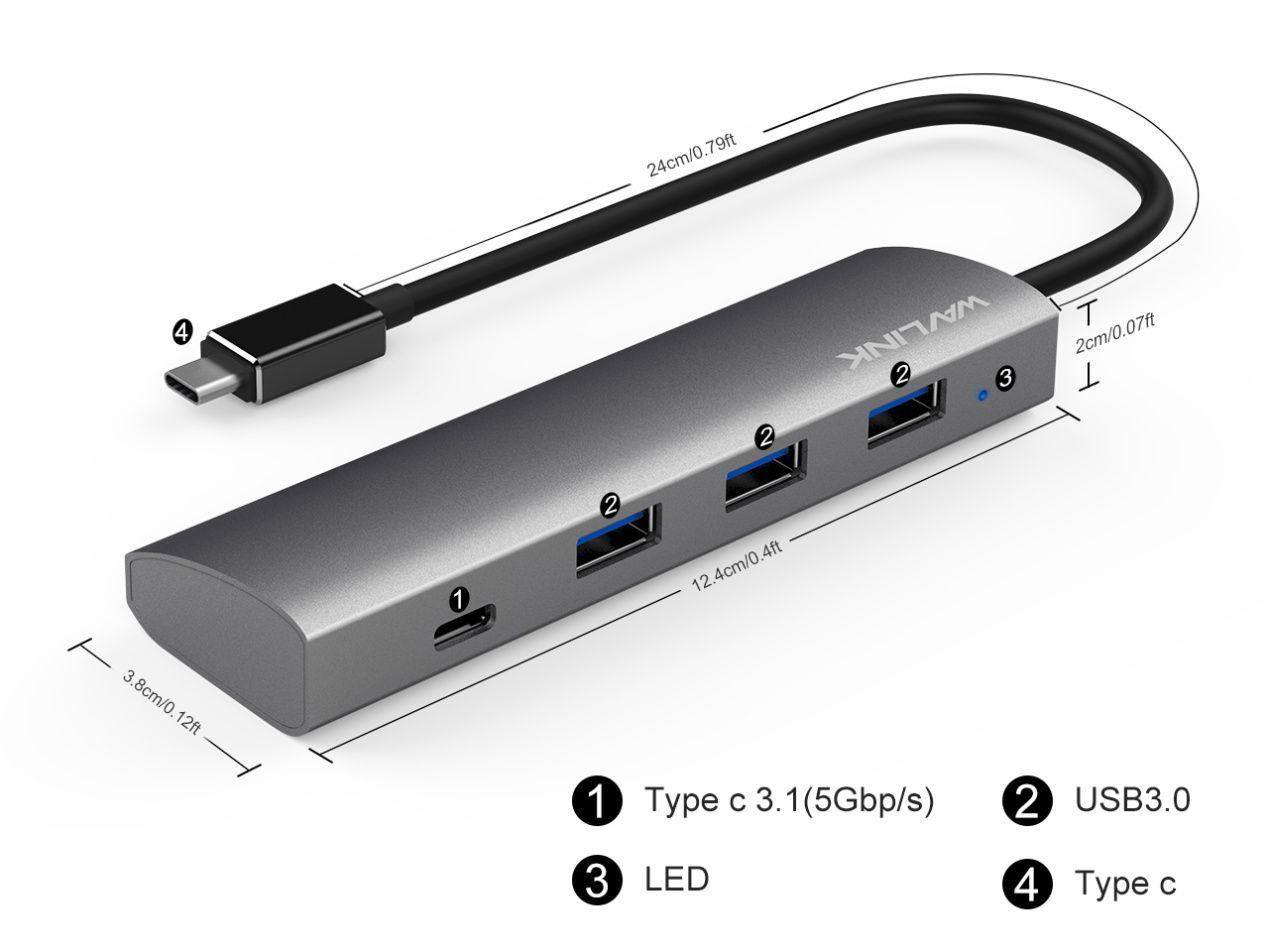 WAVLINK SUPERSPEED USB 3.0 TYPE C 4-PORT ALUMINUM HUB UH3047C1 4 7