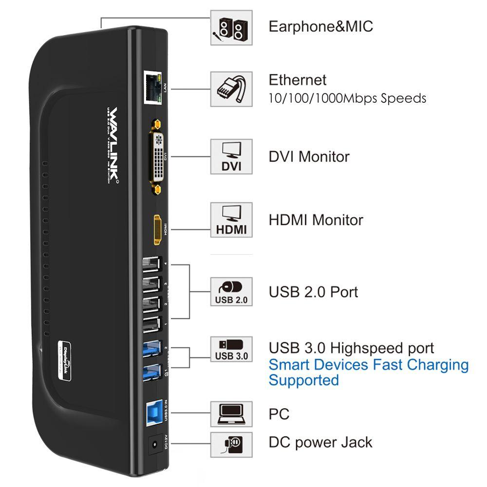 WAVLINK USB 3.0 UNIVERSAL DUAL DISPLAY DOCKING STATION UG39DK4 4 7