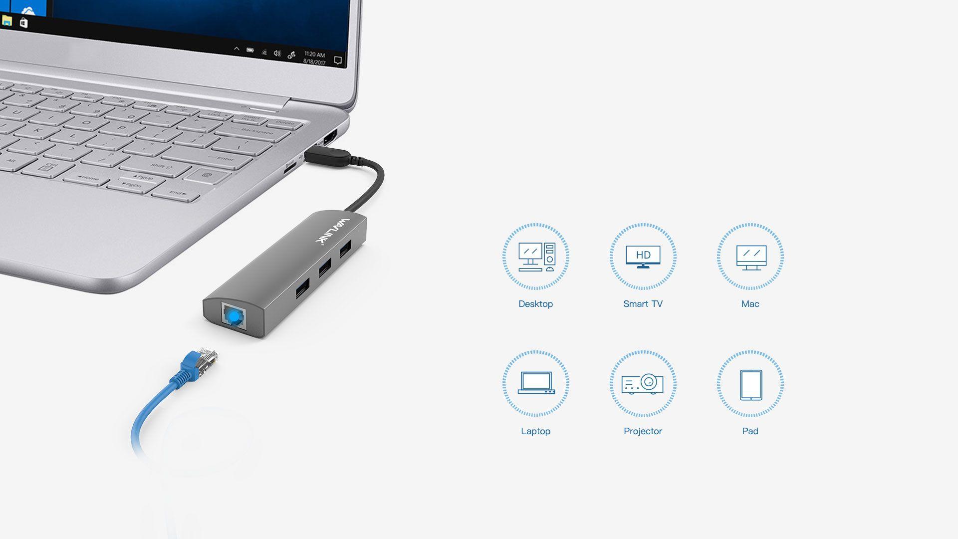 WAVLINK USB 3.0 4-PORT HUB WITH GIGABIT ETHERNET 3 6