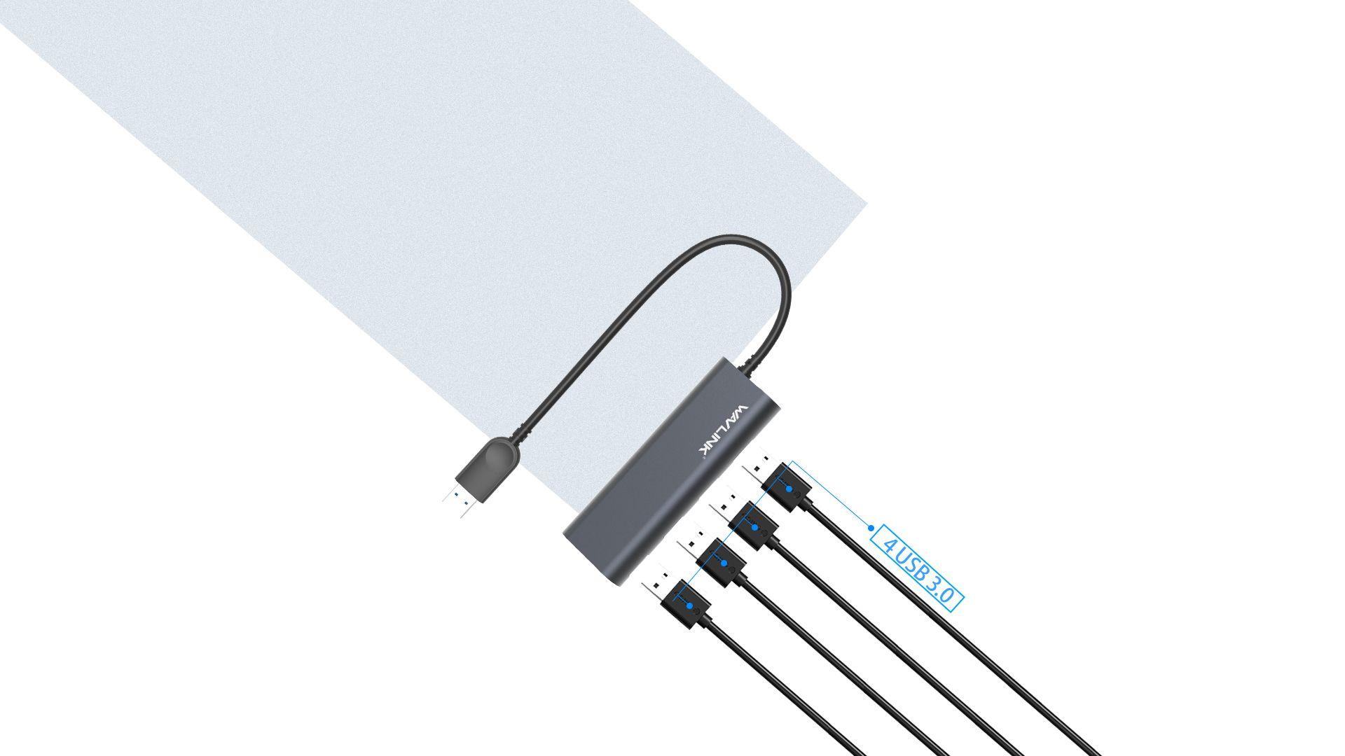 WAVLINK SUPERSPEED 4-PORT USB 3.0 ALUMINUM HUB 2 5