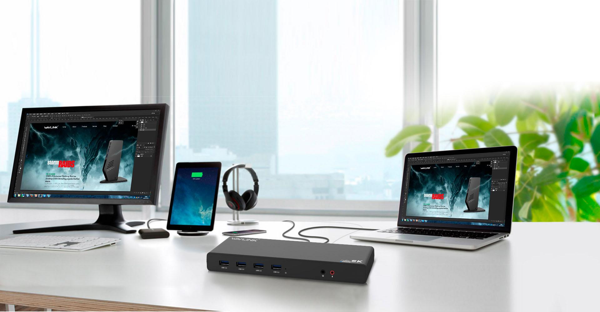 WAVLINK USB UNIVERSAL DOCKING STATION USB-C IN DUAL 4K UG69DK1 1 4