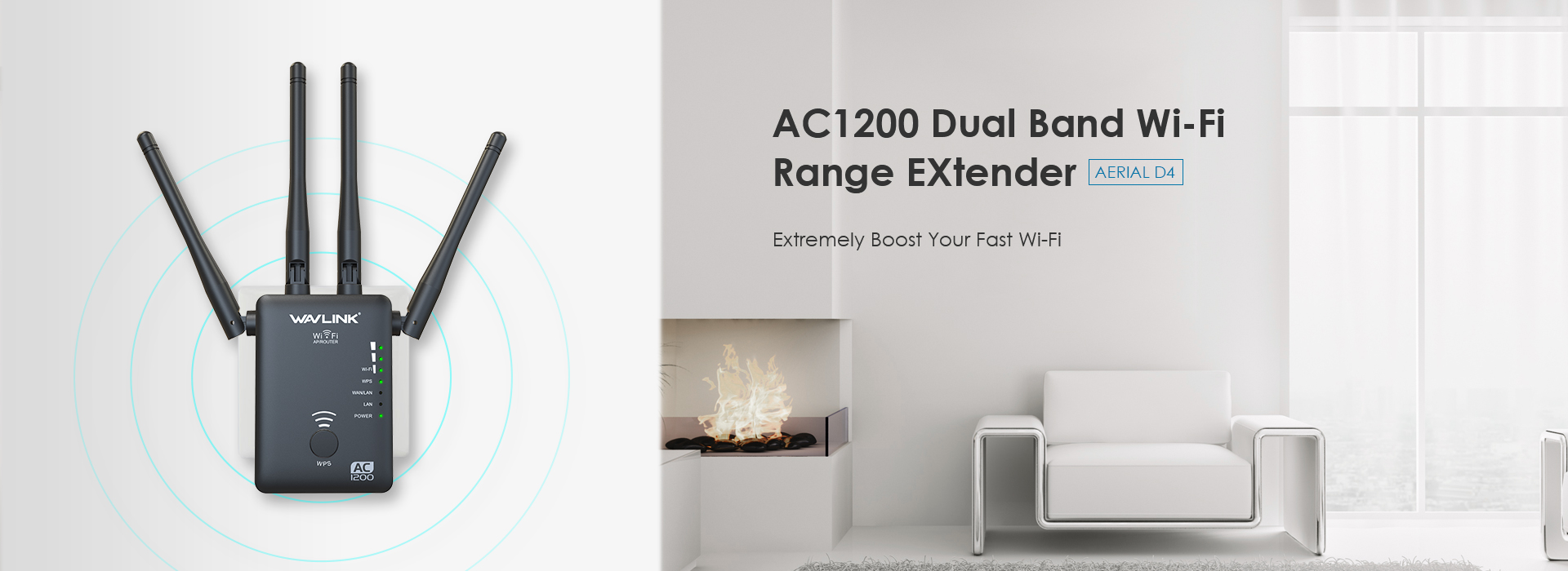 AERIAL D4 – AC1200 Dual-band Wireless  AP/Range Extender/Router