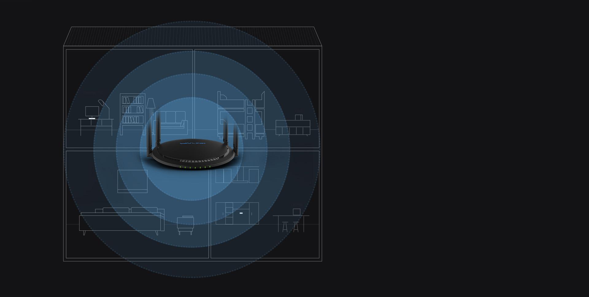 睿因A42外置2根5GHz和2根2.4GHz高增益单频天线,充分的提高了网络传输性能