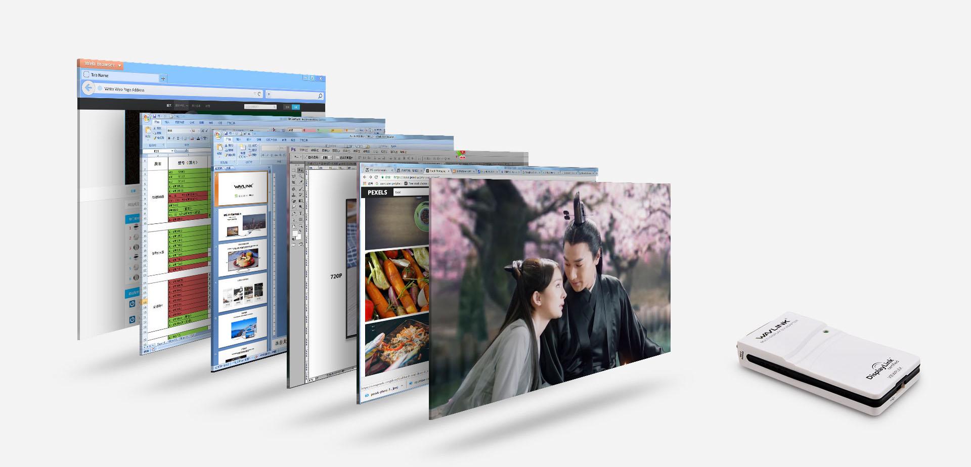支持最多扩展到六台显示器